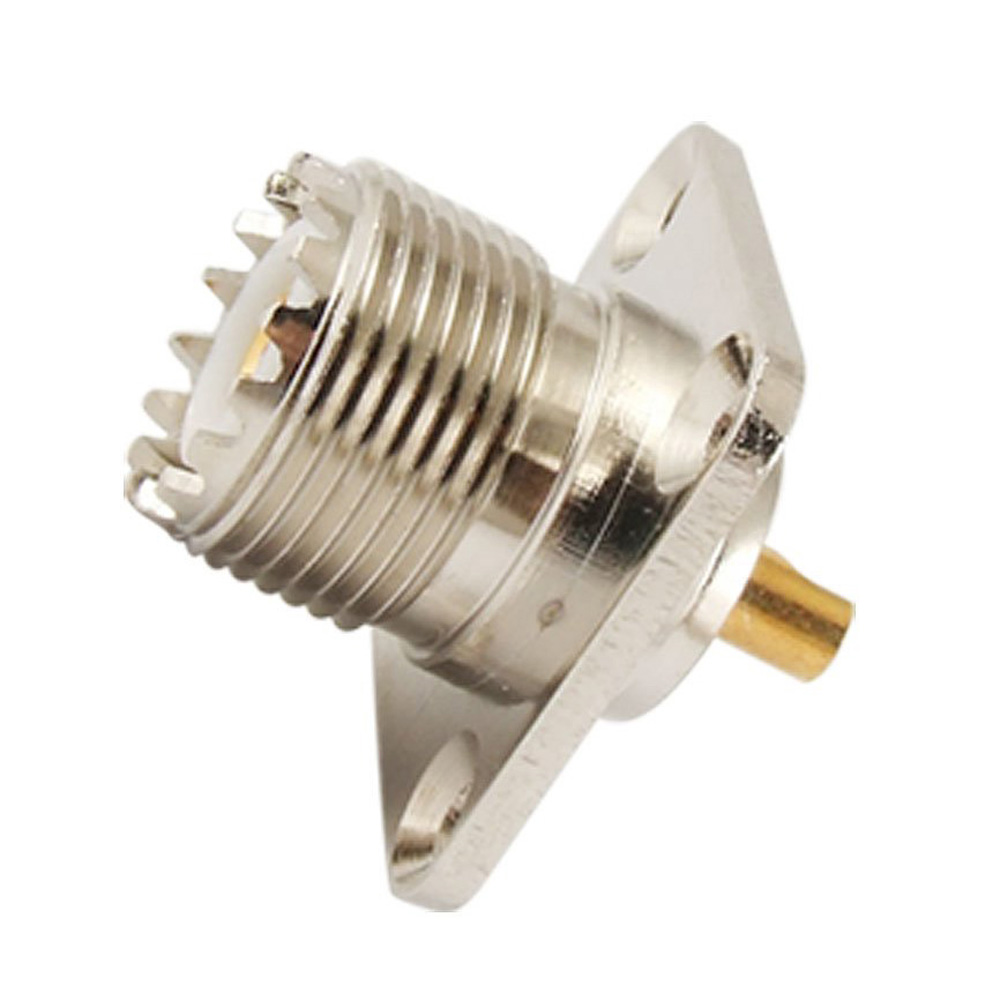 цена на 10x New UHF Female SO239 Panel Chassis Mount Flange Deck Mount Solder Cup RF Connector