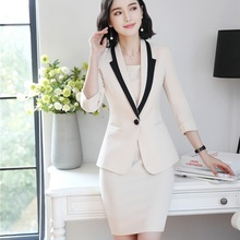 Moda señoras vestido trajes para las mujeres trajes de negocios blanco  chaqueta y desgaste de trabajo uniformes de oficina estil. f28ba113c1ef