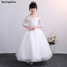 White Ball Gown Flower Girl Dresses for Weddings Half Sleeve Long Evening Party Dresses for Girls Kids First Communion Dress