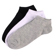 10 Pairs Men Short Boat Socks High Quality Polyester Breathable Casual Black White Pure Color Fitted