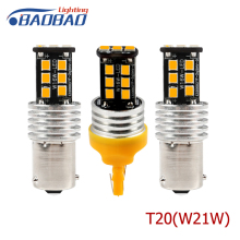 цена на BAOBAO T20 W21W Car Signal Turn Light LED Bulb 15W 1156 P21W Super Bright Yellow Turn Brake Lamp 2835 LED Chip Signal Lamp