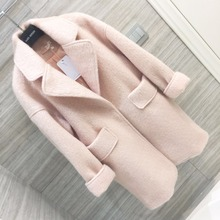 Wool Coats Women Winter 2018 Pink Fur Pockets Straight Loose Womens Coats Oversize Turn Down Collar Thick Striped Wool Coats