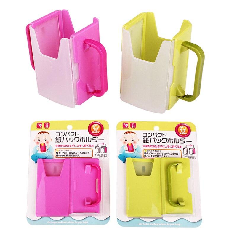 Bottle Cup Milk Holder Adjustable Safety Plastic Baby Toddler Kid Juice Milk Box Drinking Bottle Cup Holder 2 Colors Hot