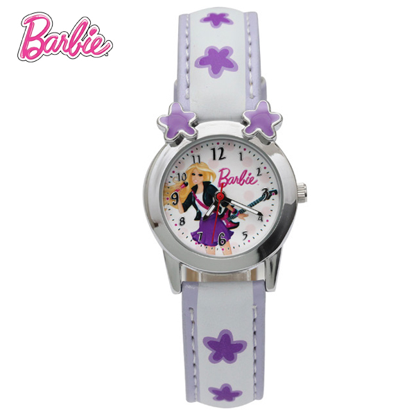 100% Genuine Barbie watch Children's Casual leather WristWatches Students Sports Watches Birthday Gift For Kids Girls BA00096-2