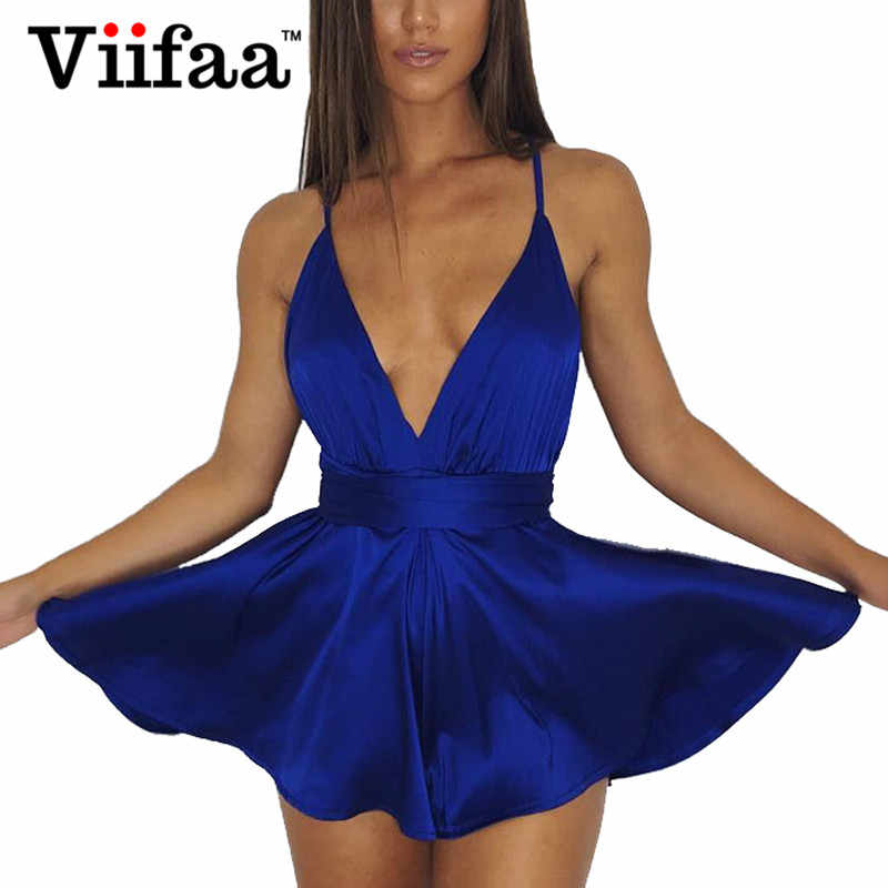 0a54d437603 Viifaa Faux Satin Sexy V Neck Mini Dress Spaghetti Strap Summer Women Silky Dress  2018 Blue