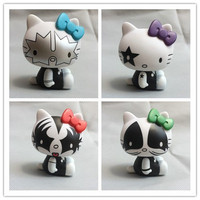 4pcs/set Exclusive Original Garage Kit Classic Toy Kitty Cat As Kiss Band Rock Cute Dolls Action Figures Collectible Model Toys