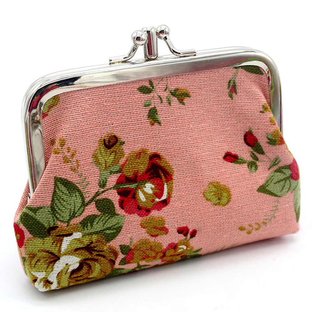 Womens Retro Vintage Canvas Small Coin Purse Printing Flower Card Holder Student Girls Wallet Bag monedero mujer para monedas*15