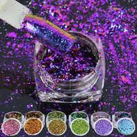 6 Box/set Multicolore Fiocchi di Bling Paillettes 0.2G Unghie Artistiche Irregolare Camaleonte Effetto Magico Glitter per Unghie di Alimentazione 3D Holo Paillette