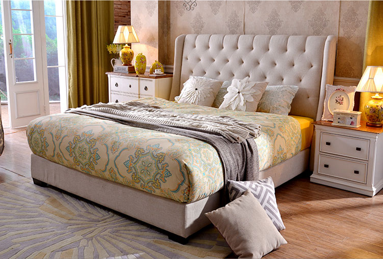 diamond tufted buttons high headboard contemporary fabric bed King size bedroom furniture Made in China european style imperial king bed w decorative headboard luxrious bedroom furniture