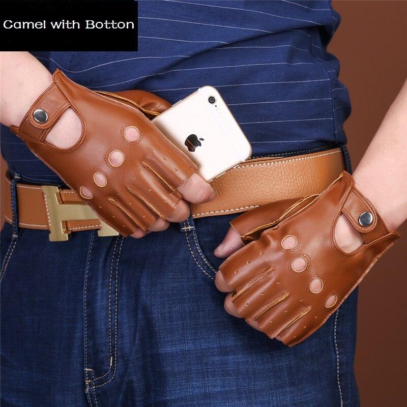 Newest Half-finger Lambskin Leisure Men Genuine Leather Gloves Wrist Breathable Solid Sheepskin Driving Gloves Mittens 2019