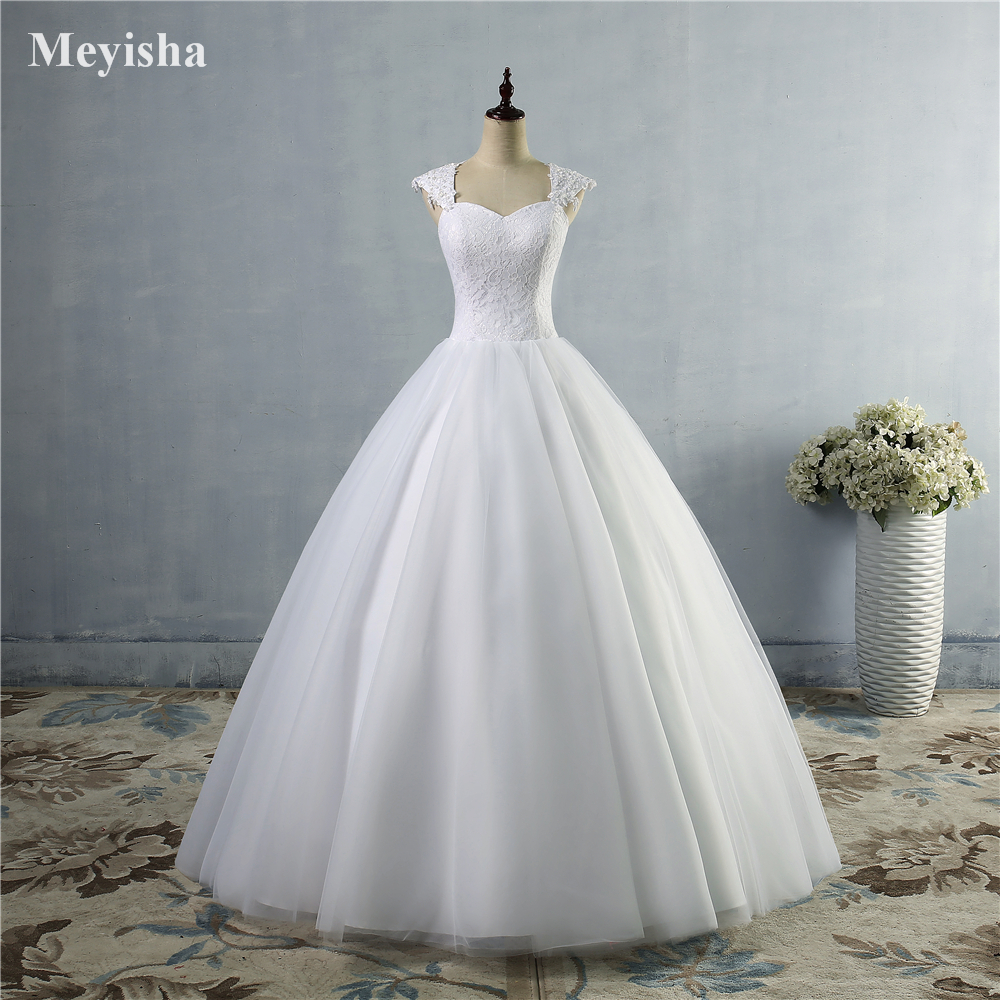 ZJ9030 2019 Beads Crystal Lace White Wedding Dresses For Brides Plus Size Maxi Size 2 4 6 8 10 12 14 16 18 20 22 24 26