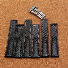 Nueva Correa 2016 correas de Reloj de Alta Calidad con la línea roja o blanca cosido especial grano de carbono 20mm 22mm 24mm para hombres reloj de la marca