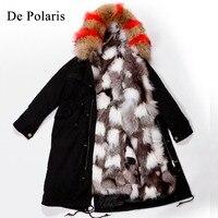 Парка с мехом лисы пальто с мехом натурального парка енота зимняя куртка женская Жeнскaя зимняя кyрткa