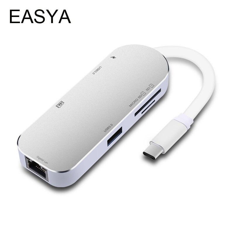 EASYA USB Type-C Hub To HDMI Adapter Gigabit Ethernet RJ45 1000Mbps Thunderbolt USB C Hub 3.0 Combo Card Reader For Macbook Pro 668 usb 3 1 type c card reader