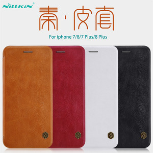 Image 1 - For iphone 7 8 Flip Case iphone 7+ 8+ PLUS Cover Nillkin Qin Vintage Leather Card Pocket Flip Cover For iphone 8 Phone Bags
