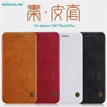 Funda con tapa para iphone 7 8, 8 + PLUS, Nillkin Qin, funda Vintage de cuero con bolsillo para tarjetas, funda abatible para iphone 8, bolsas para teléfono