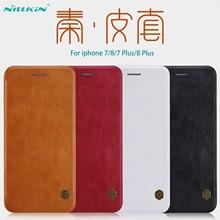 สำหรับ iPhone 7 8 กรณีพลิก iPhone 7 + 8 + PLUS ฝาครอบหนัง NILLKIN Qin VINTAGE กระเป๋าสำหรับ iPhone 8 กระเป๋าโทรศัพท์