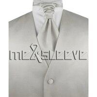 Hot Sale Free Shipping Plain Silver Wedding Dress Shops Vest Ascot Tie Cufflinks Handkerchief