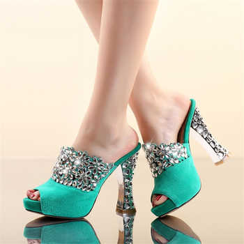 2019 big size 42 quality kid suede leather crystal party women Shoes high heels summer sexy platform Mules Pumps sandals woman - DISCOUNT ITEM  40% OFF All Category