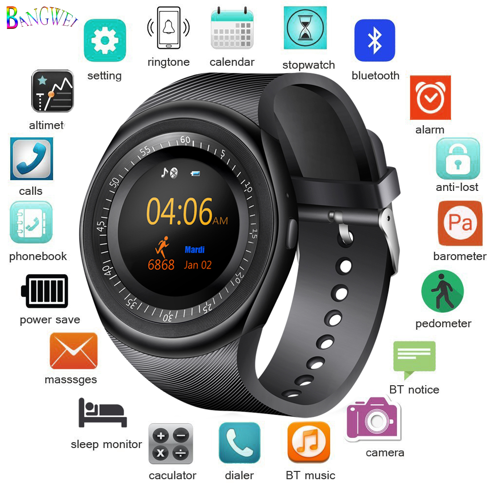Bright Bangwei Sport Smart Watch Women Men Led Smartwatch Pedometer Sleep Monitoring Support Sim Tf Android Phone Watch Alarm Clock+box Warm And Windproof Men's Watches