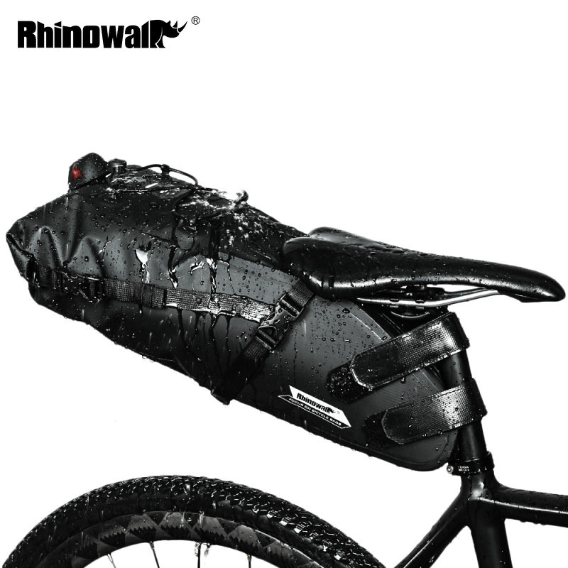 RHINOWALK Bicycle Bag Waterproof Bike Saddle Bag Mountain Road Cycling Tail Rear Bag Luggage Pannier Pouch Bike Accessories 12L|Bicycle Bags & Panniers| |  - title=