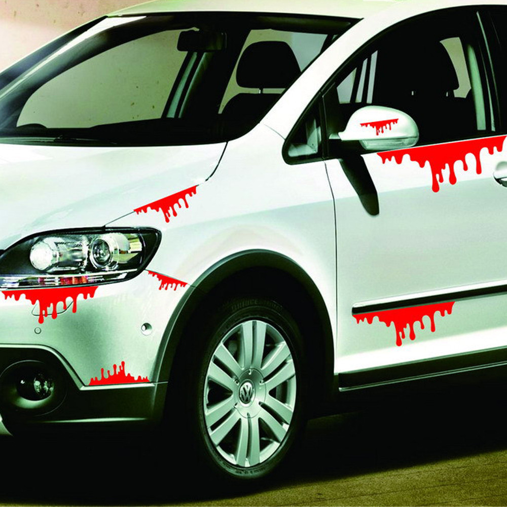 auto stickers new arrival happy halloween car wall home blood sticker mural decor decal removable terror - Halloween Car Decorations