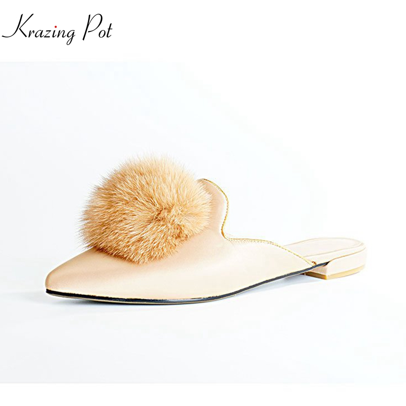 Krazing pot 2018 new silk fur fashion pointed toe shallow slip on solid women flats mules summer luxury concise party shoes L02 cresfimix women cute spring summer slip on flat shoes with pearl female casual street flats lady fashion pointed toe shoes