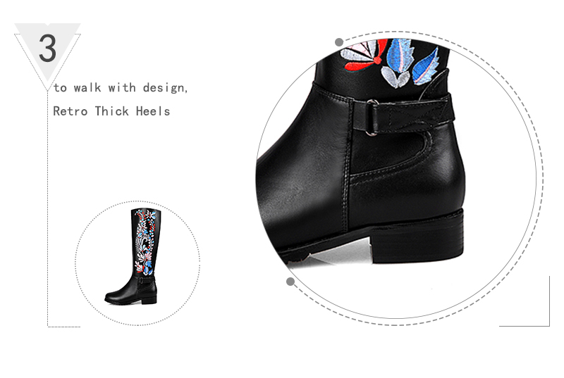5d35be273 ④2018 Big Size 34-43 Genuine Leather Ethnic Knee Boots Add Fur ...