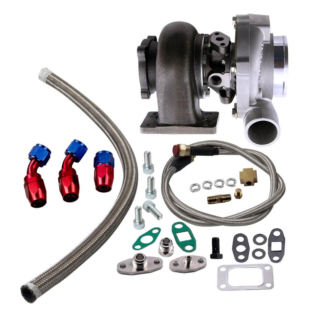 GT3076R GT30 GT3037 Turbocharger 500HP T3 Turbo External Wastegate for Skyline Oil Drain Return Oil FEED Line Kit .82 Housing - 6