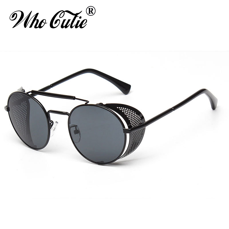 WHO CUTIE 2018 Round Steampunk Goggles Sunglasses Men Brand Designer Vintage Retro Circle Metal Iron Man Punk Sun Glasses OM143 ...