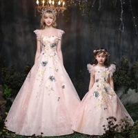 Flower Mother Daughter Dresses Wedding Clothes Mom and Daughter Dress Ball Gown Mum Girls Evening Dress Family Matching Outfits