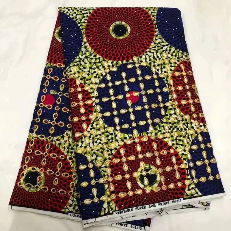 Vendita calda Con Pietre di Alta Qualità Cera Eccellente Hollandais Cera Olandese Hollandais Cera Africano Per Il Vestito Delle Donne 6 metri!! XM082311