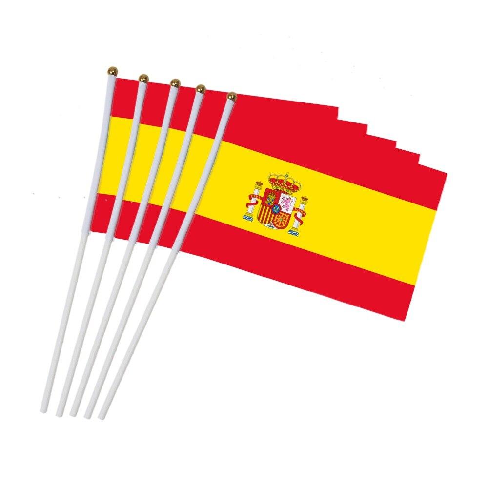 14x21 Cm 5 Stücke Die Spanisch Flagge Hand Wehende Fahnen Mit Kunststoff Fahnenmasten Aktivität Parade Sport Hause Dekoration Nn013 Einen Einzigartigen Nationalen Stil Haben