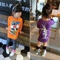 Nuevo popular de la historieta 2-7Y algodón de los niños de impresión niñas de manga larga camiseta, kids tees bebé princesa de las muchachas tops camisetas