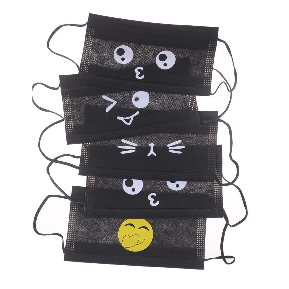 5pcs Cute Cartoon Anti-dust Windproof Masks Non-woven Mouth-muffle Flu Face Medical Mask Black Disposable Mouth Mask