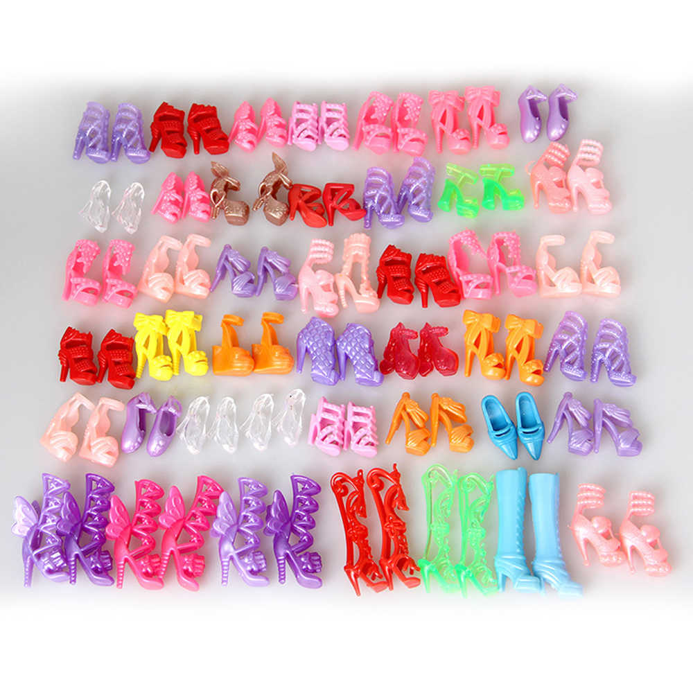 10Pcs/Lot Fashion Fixed Styles Doll Shoes Bandage Bow High Heel Sandals for Dolls Accessories Baby Girls Gift Toys