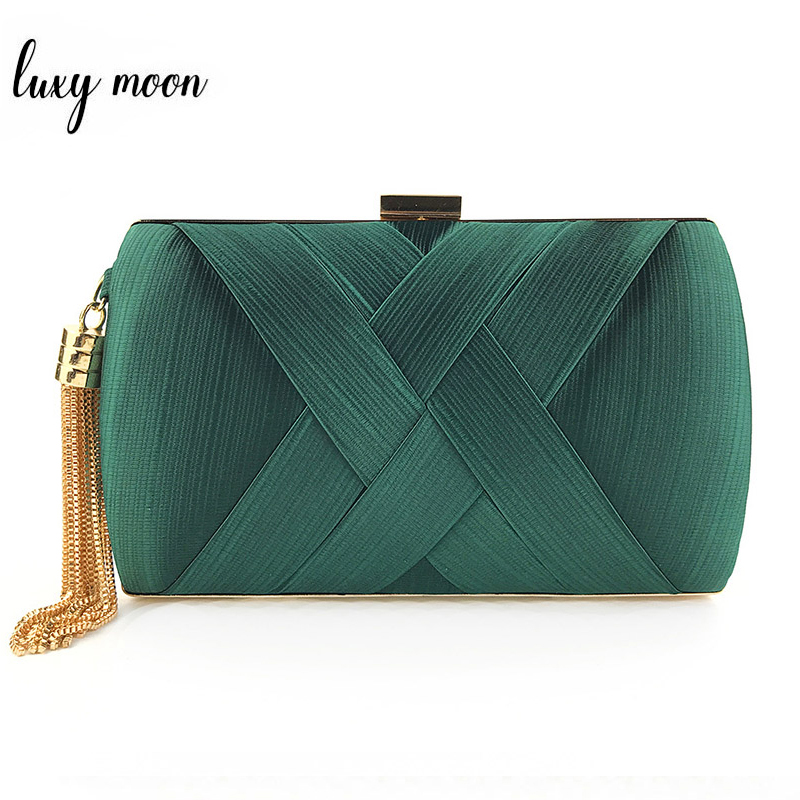 Fashion Design Metal Tassel Women Clutch Bag Knitting Pattern Evening Bag Chain Handbag Classical Small Wedding Purse ZD1190