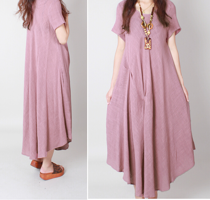 Plus Size Linen Cotton Dress New 2015 Summer Women Loose Casual Maxi