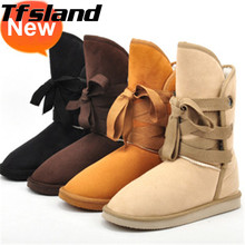 Tfsland Winter Women Warm Faux Suede Leather Snow Boots Fur Plush Mid-calf Flats Boots Walking Shoes Female Sneaker Christmas