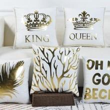 45x45 см, бархатный чехол для подушки, дерево, королева, король, наволочка, наволочка для кровати, стула, дивана, сделай сам, белая, Золотая подушка со стразами, чехол b424