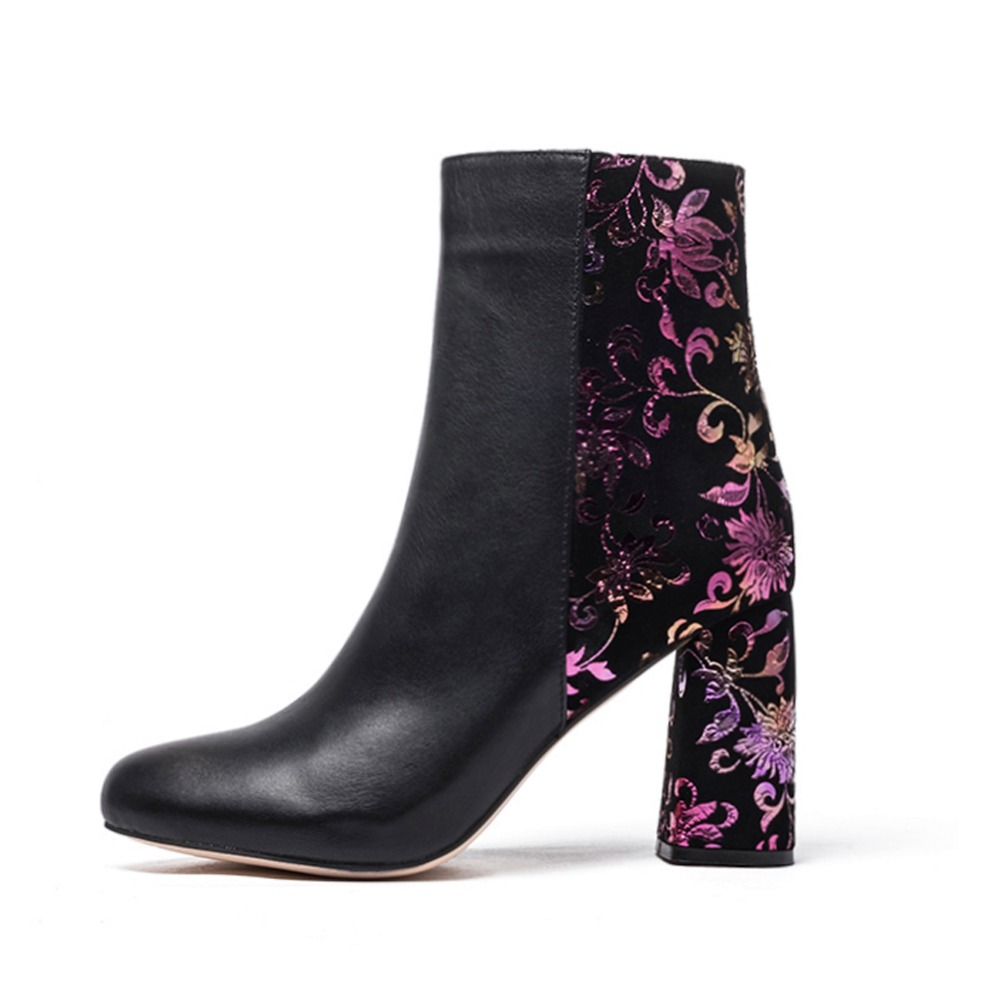 Winter New Womens Floral Ankle Boots Ladies Round Toe Block High Heel Zip Up Dress Booties Elegant Genuine Leather short bootsWinter New Womens Floral Ankle Boots Ladies Round Toe Block High Heel Zip Up Dress Booties Elegant Genuine Leather short boots