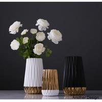 Folding paper flower vases gold black white gold classic table vase metal flower plant