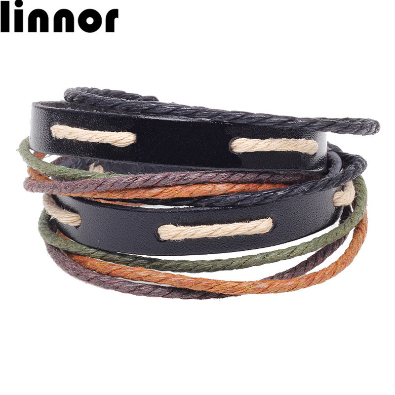 Linnor Stylish Yoga Multilayer Braided Rope Leather Bracelet Female Cordao Braslet for Girlfriend pulseira de couro feminina