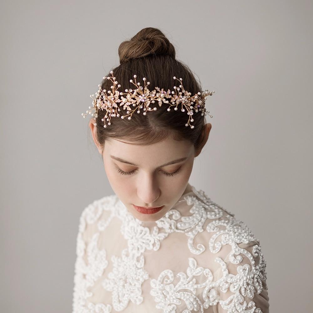 us $24.58 |for wedding dress accessories hairband floral handmade hair accessory bridal gold flower hair band women flower headband o358-in women's