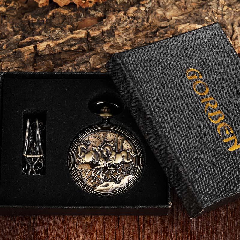Relógio de Bolso do Vintage Relógio com Corrente de Mão para Mulheres dos Homens Esculpido Padrão Cavalo Mecânico Bronze Oco Fob Colar Steampunk Mod. 157651