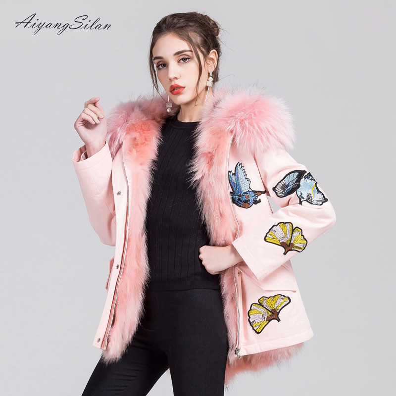 AiyangSilan Real Fox Fur Parka Hooded Short Liner Jacket Women Cotton Coats Female Pink Coat