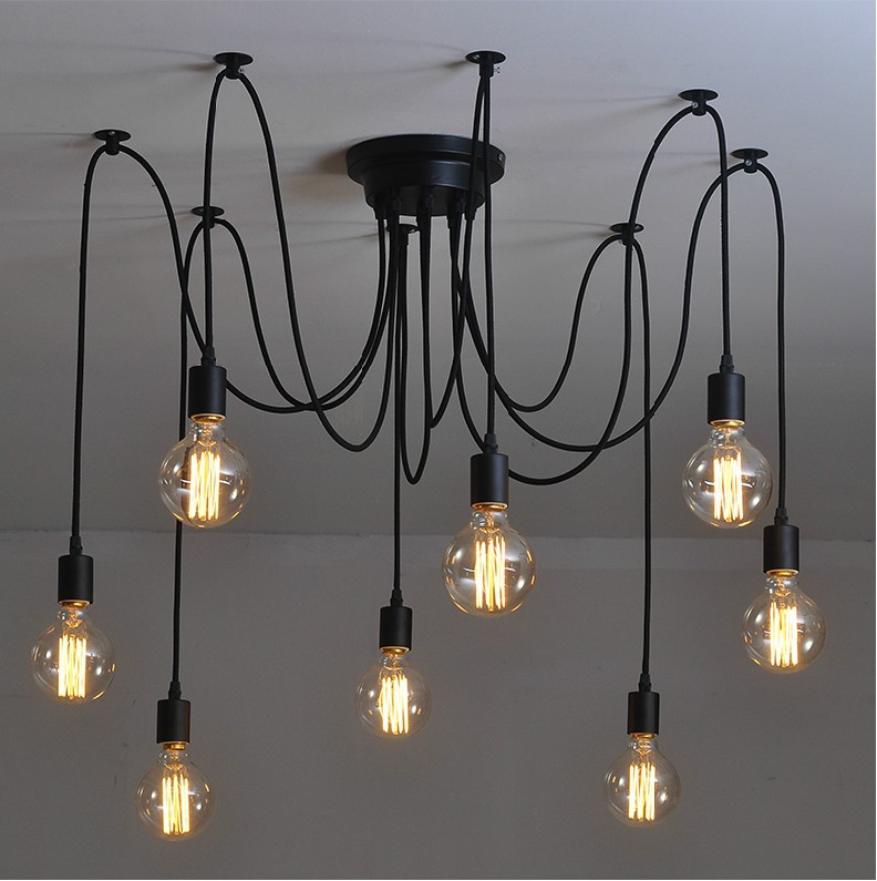 8 arm edison bulb Pendant Chandelier Modern Vintage Loft Bar Restaurant Bedrooms E27 Art Pendant industrial lamp nordic vintage chandelier lamp pendant lamps e27 e26 edison creative loft art decorative chandelier light chandeliers ceiling