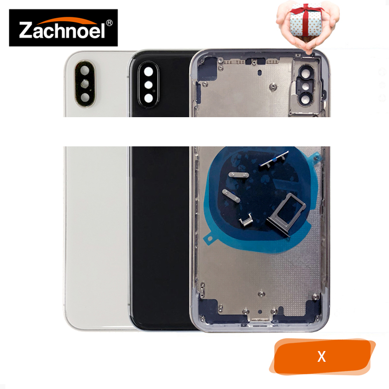 Boîtier arrière pour IPhone X 10 Ten boîtier de couverture de porte de batterie cadre moyen corps de châssis + pièces de rechange en verre noir blanc