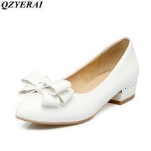 QZYERAI New arrivals spring women s single shoes high heels low heel fashion bows sandals women