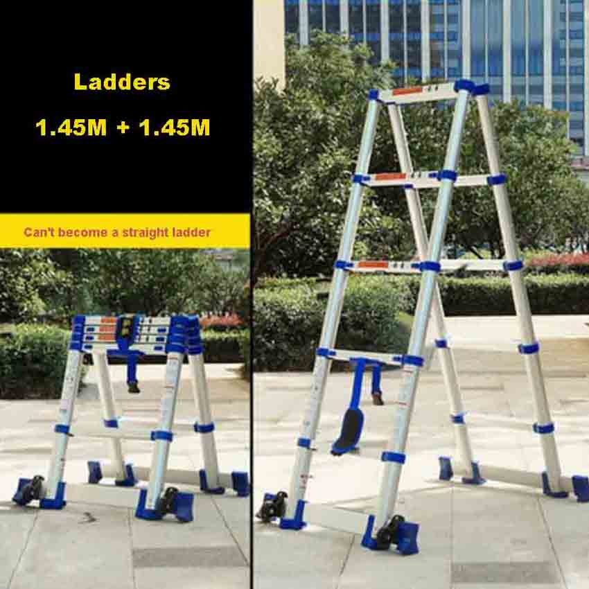 1.45M+1.45M High Quality Thickening Aluminium Alloy Herringbone Ladder Portable Household 5+5 Steps Telescopic Ladders JJS511